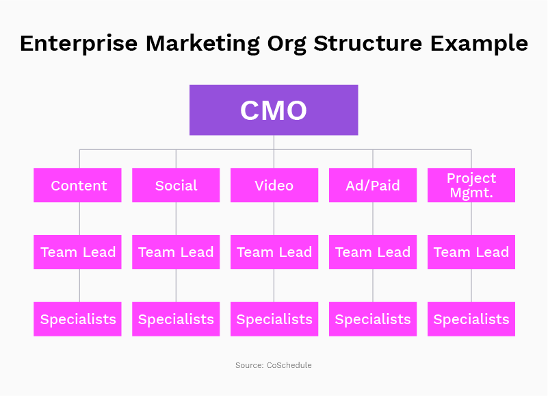 A more complex example of a marketing org chart