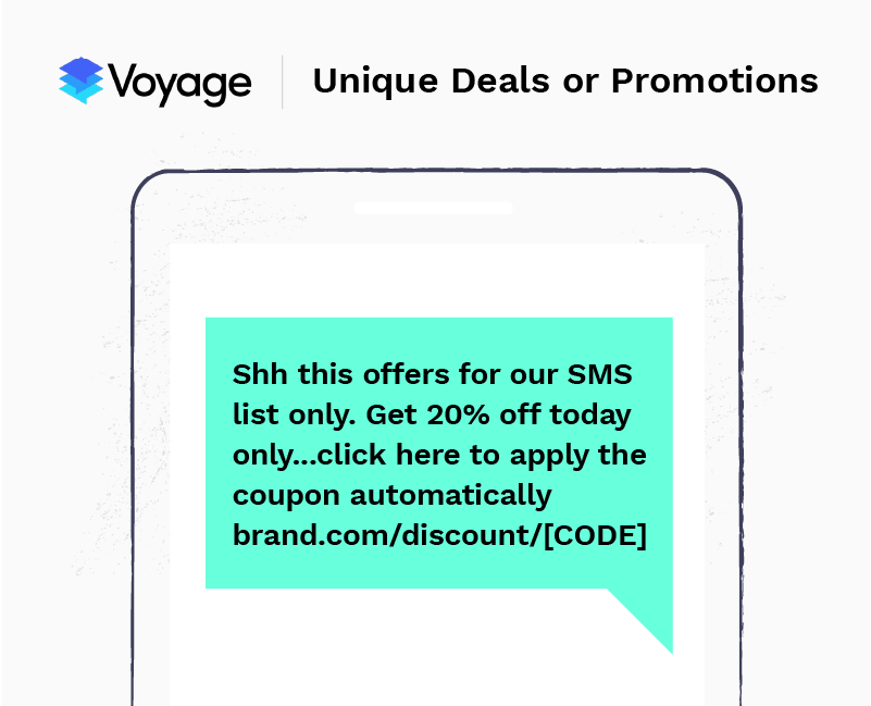 SMS marketing example - promo