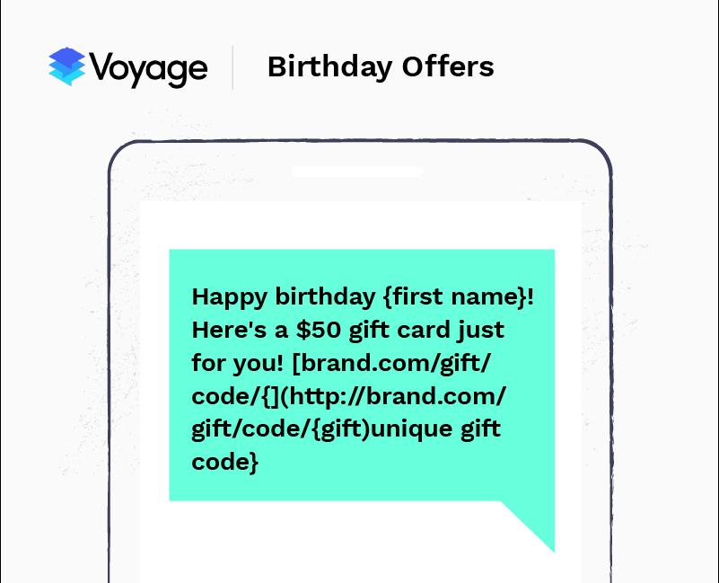 SMS marketing example - birthday