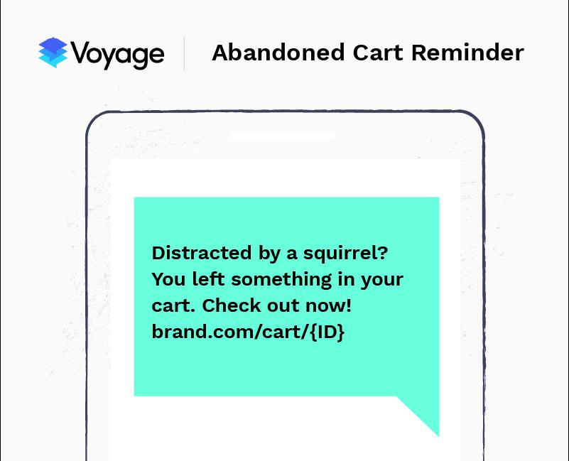 SMS marketing example - abandoned cart