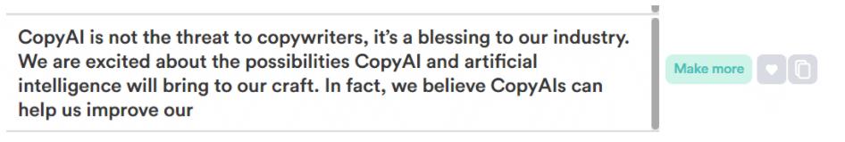 AI copywriting social media example