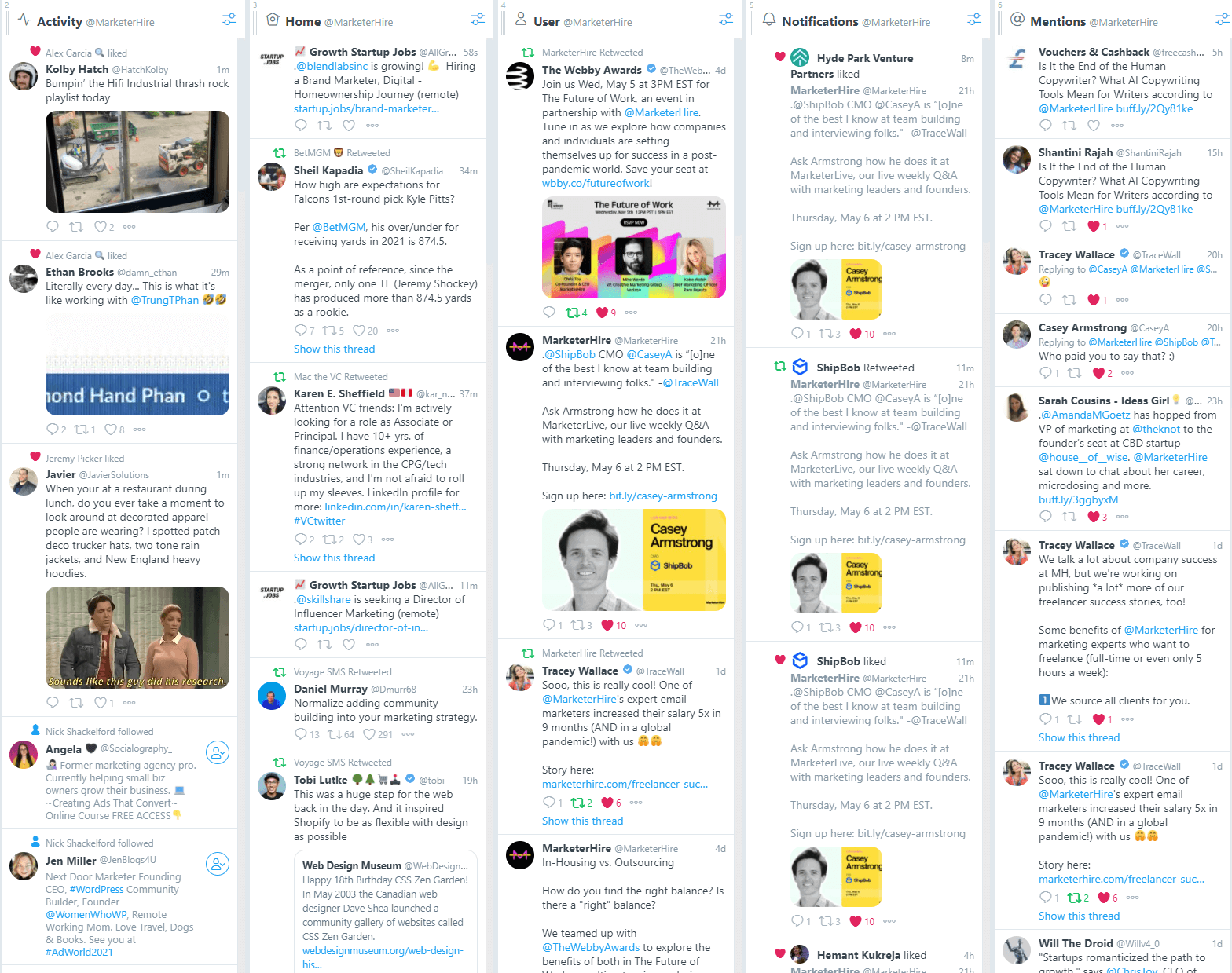 TweetDeck - free tool for Twitter that lets you schedule content, respond, and discover