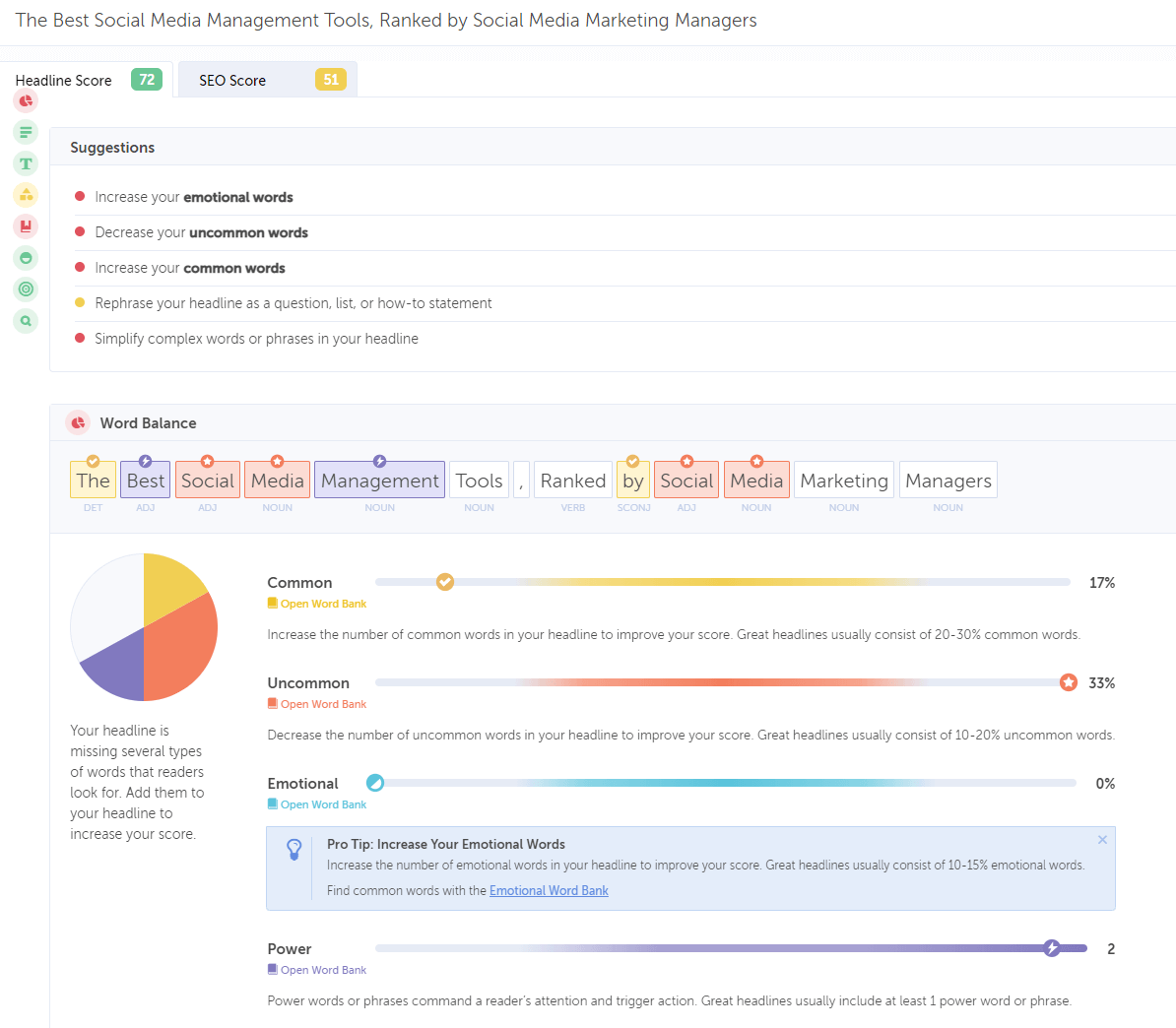 CoSchedule's Headline Analyzer - a free tool that helps you optimize headlines for social media, SEO, and more