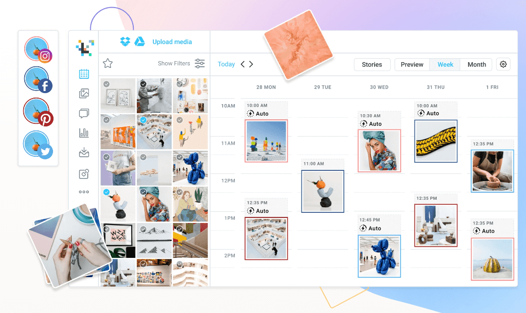 Later - schedule posts to Instagram with visual content calendar