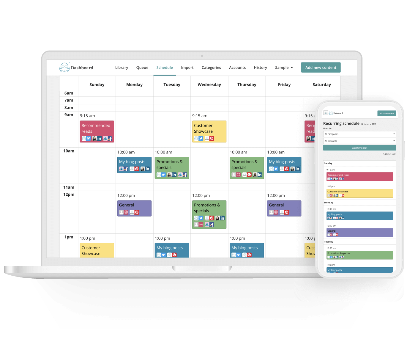 MeetEdgar - content calendar, multiple social media accounts, and ability to schedule posts