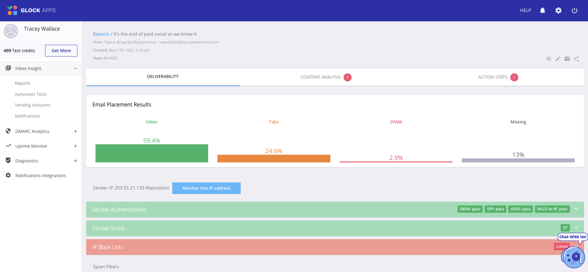 GlockApps email deliverability tool