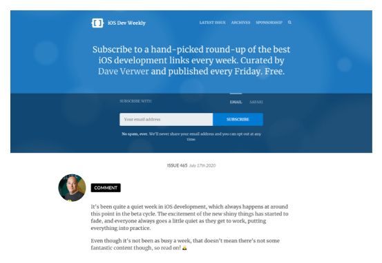 Curated email website