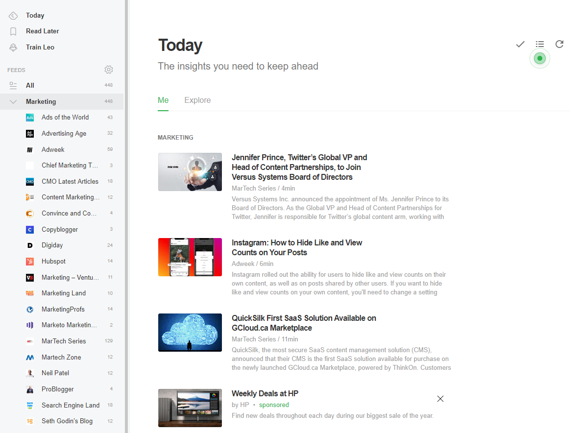 Content marketing tool example. How to use feedly.