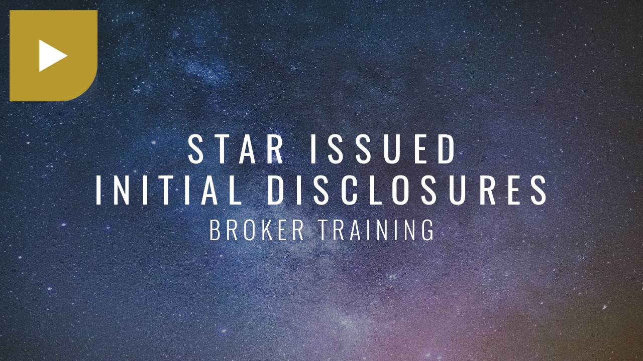 STAR Issued Initial Disclosures
