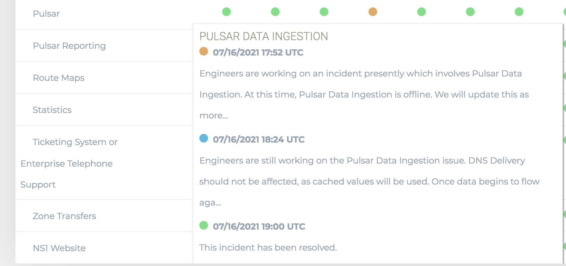 NS1 Pulsar Traffic Steering Status 2021