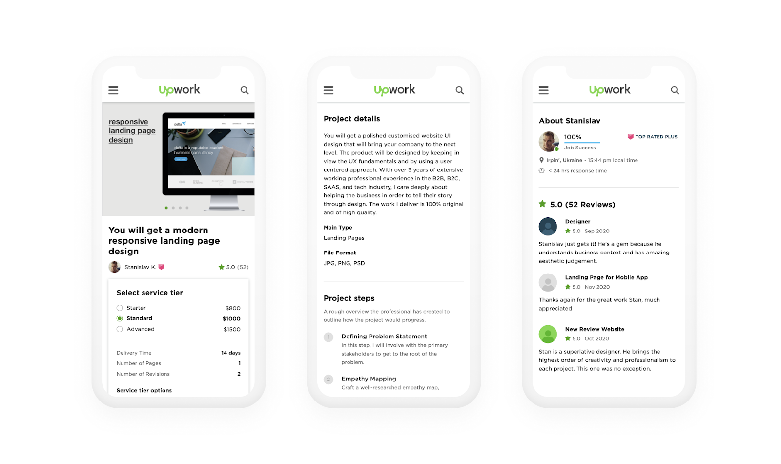 Mobile view for clients to select projects
