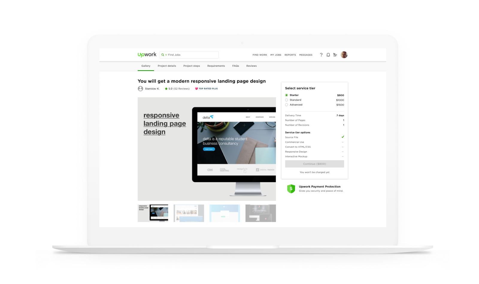 Desktop view of project scope
