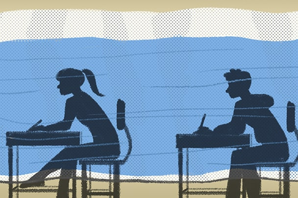 Cartoon silhouette of boy and girl sitting at their desk in-front of a blue wall.