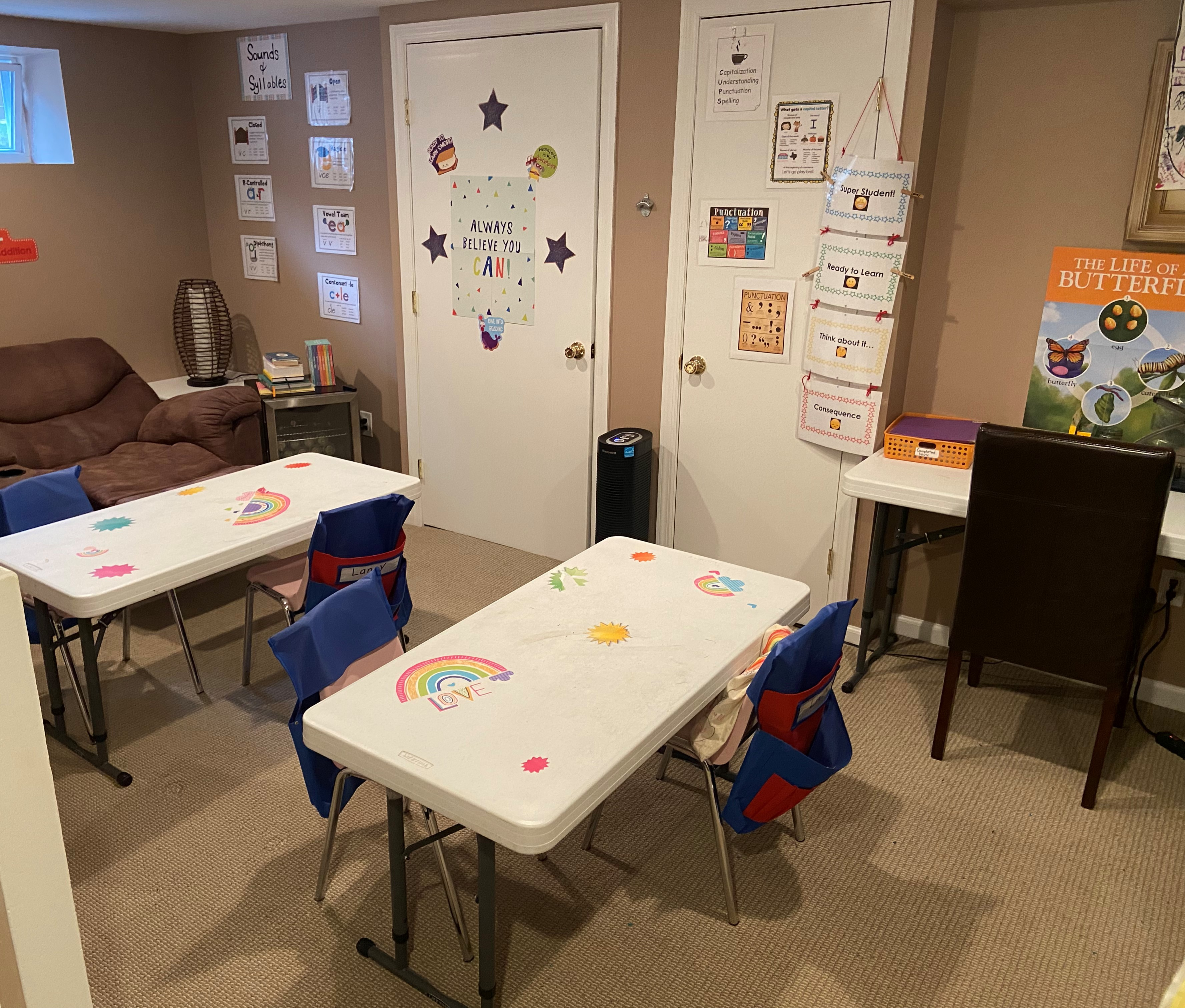 a colorful micro school classroom set up