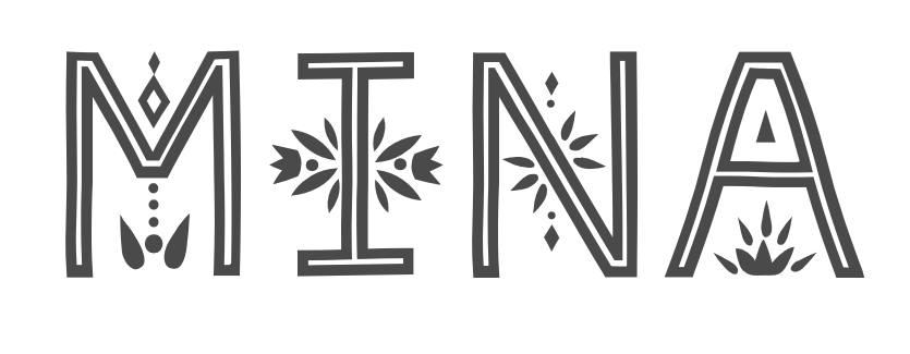 Mina logo which is black outlined letters of M I N A with floral and earthy embelishments.