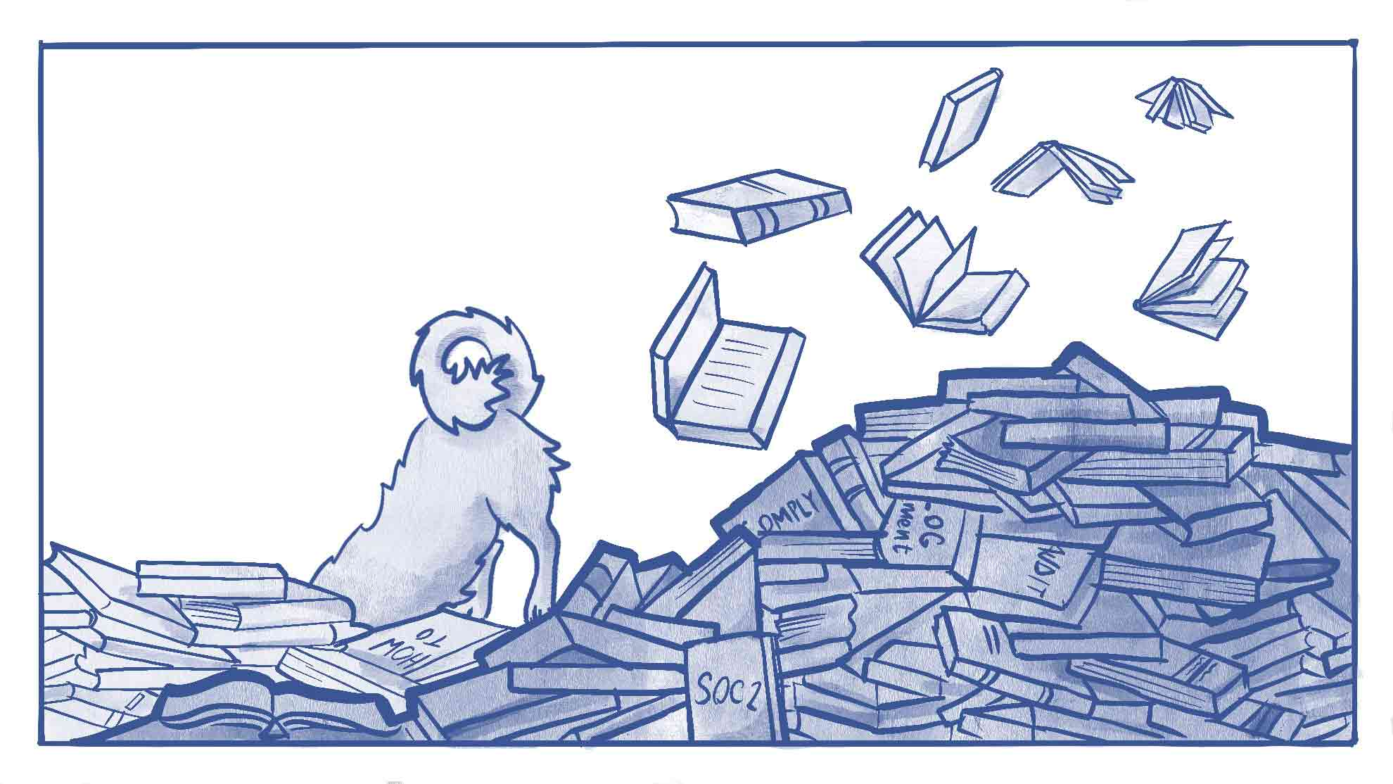 Illustration of a dog digging through a pile of SOC II books (resources)