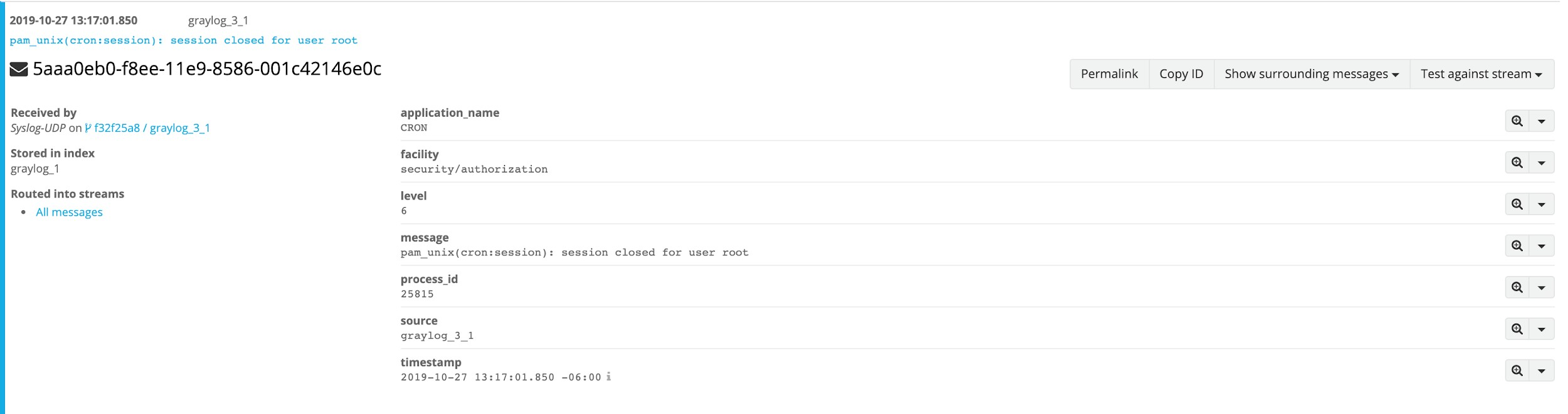 Graylog Syslog data example