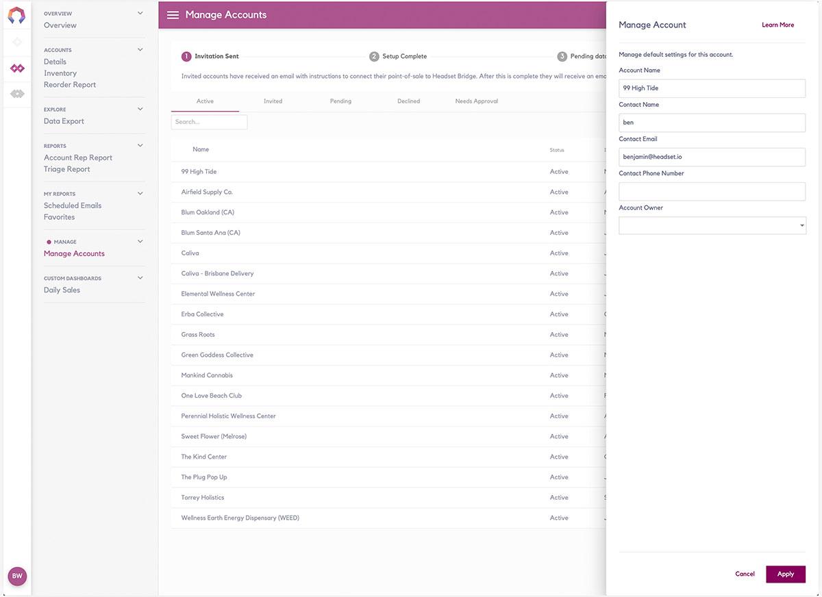 Headset Bridge 2.0 Accounts Management Dialog