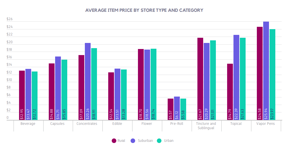 AVERAGE ITEM PRICE BY STORE TYPE AND CATEGORY