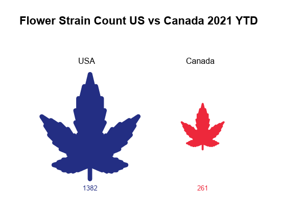 Cannabis flower industry report: Number of cannabis strains by country