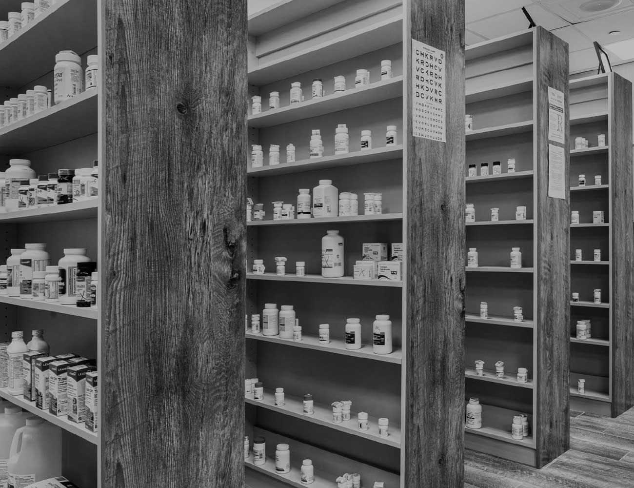 Rows of medicine on shelves