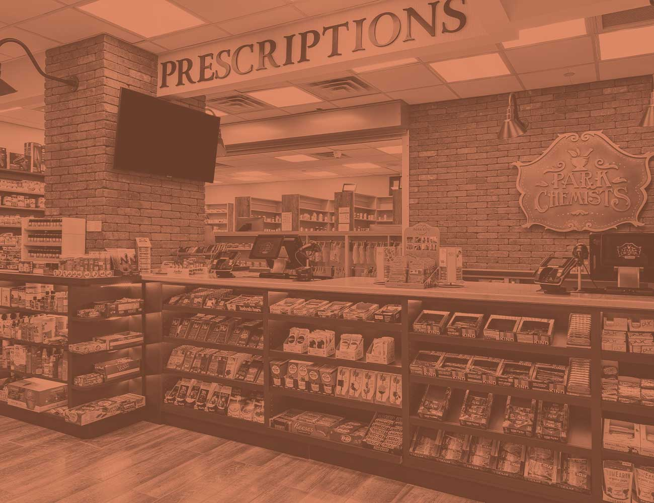 prescription checkout counter with candy on the shelves