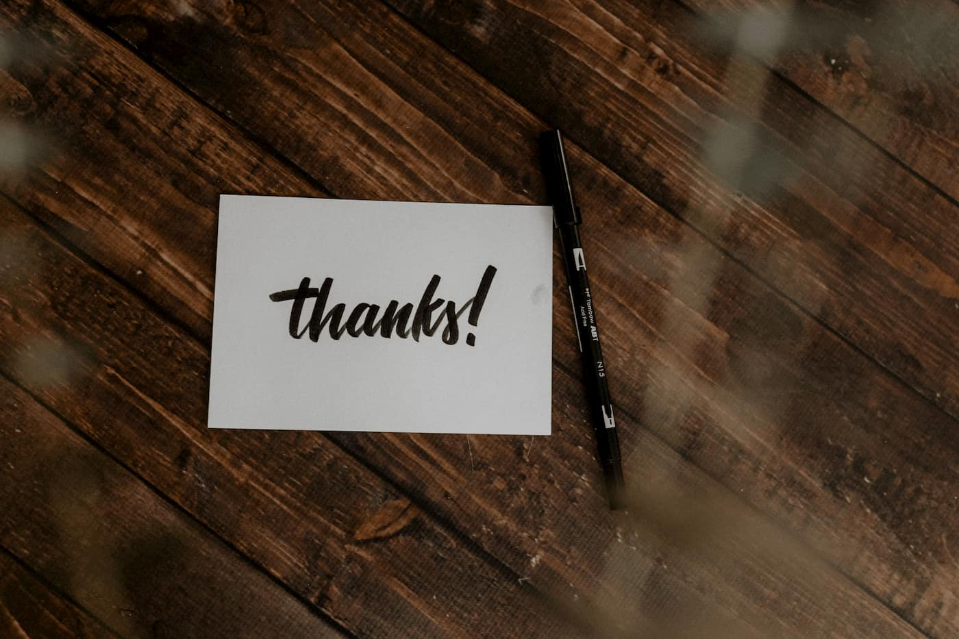 Caring for residents with a thank you card