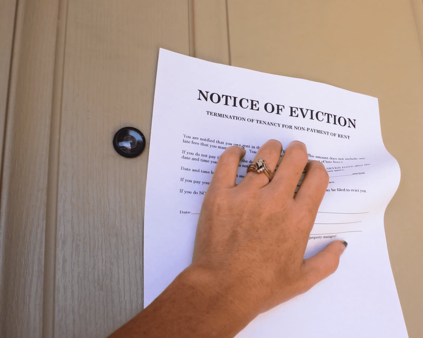 Notice of eviction at rental property