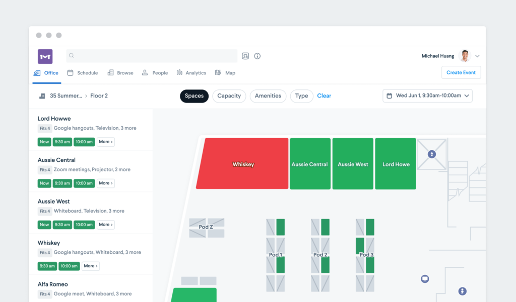 desktop view of a meeting room booking system