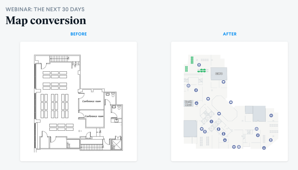 Robin software implementation floor plan map conversion. onboarding with Robin