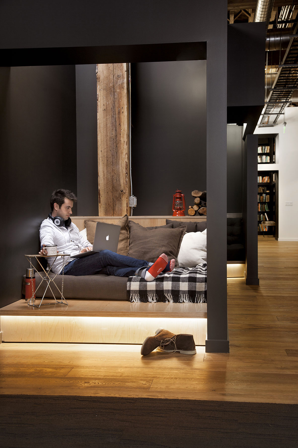 Nook at Github HQ with couch and pillows