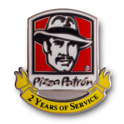 pizza patron 2 years of service hard enamel pin