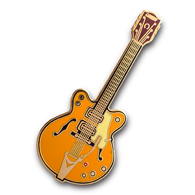 orange guitar hard enamel pin