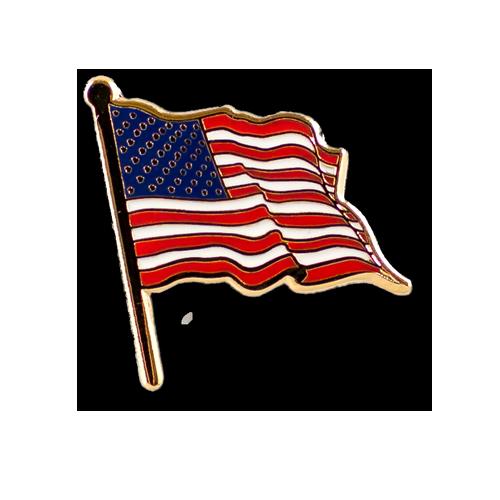American Flag On Pole Pin
