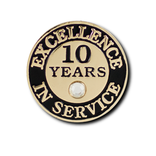 Excellence In Service 10 Year Pin