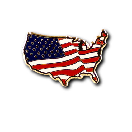 American Flag Us Shaped Pin