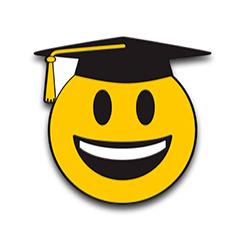 Smiley Face Graduation Pin