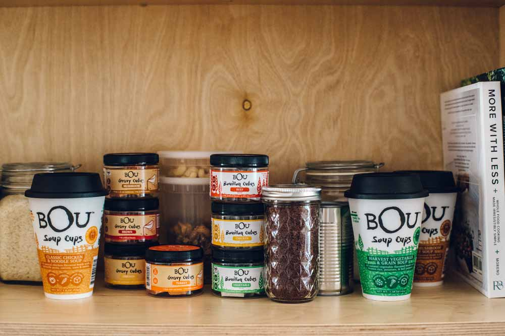 An assortment of BOU Brands soup cups and bouillon cubes [Unioncrate]