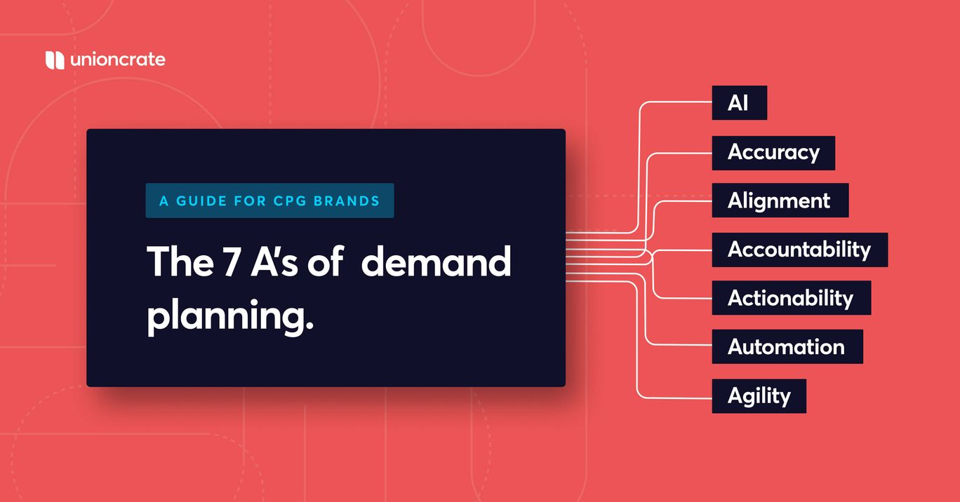 """Red background with blue box that reads """"The 7 A's of Demand Planning"""" and lists AI, Agility, and Automation [Unioncrate]"""