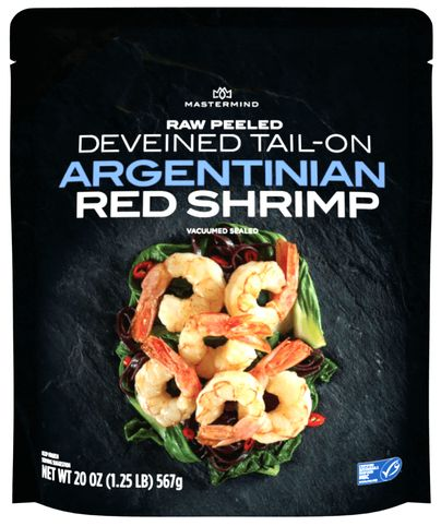 Raw peeled deveined tail-on Argentinian red shrimp [Unioncrate]