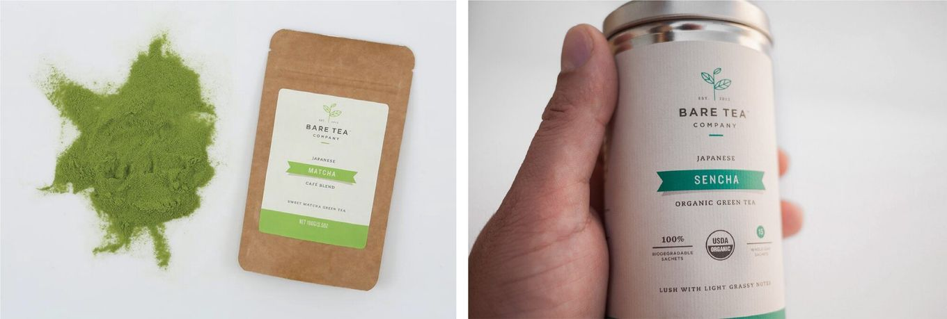 Bare Tea containers of matcha and sencha [Unioncrate]
