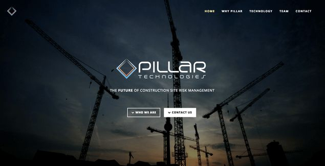 Homepage of the Pillar Technologies website [Unioncrate]