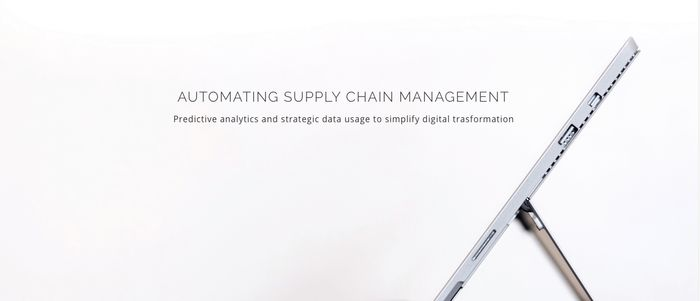 """A propped-up device and text that says """"automating supply chain management"""" [Unioncrate]"""