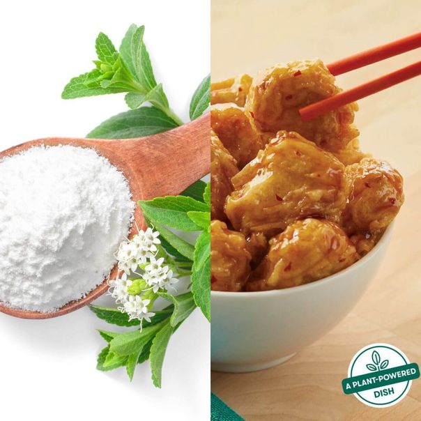 CPG News: Dual image of stevia sweetener and a bowl of vegan orange chicken [Unioncrate]