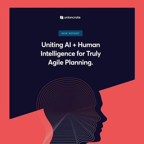 """Red background with midnight blue block reading """"Uniting AI + Human Intelligence for Truly Agile Planning [Unioncrate]"""