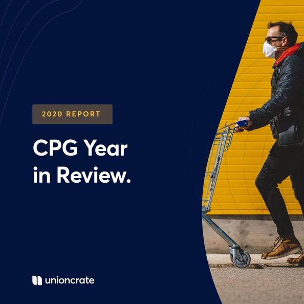 """Blue background that reads """"CPG Year in Review"""" with a consumer against a yellow background pushing a shopping cart"""