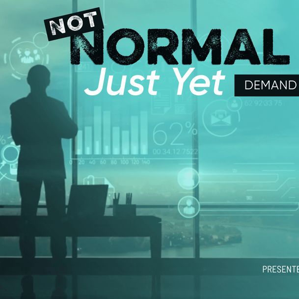 """Silhouette of a person looking out of a window with the words """"Not Normal Just Yet—Demand Planning in 2021"""" [Unioncrate]"""