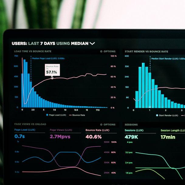 Black screen showing sessions, session length, and bounce rate as part of the global predictive analytics market [Unioncrate]