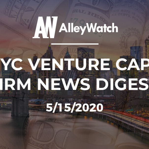 """NYC's Financial District at sunset, with dollar bills and the words """"THE NYC VENTURE CAPITAL FIRM NEWS DIGEST"""" [Unioncrate]"""