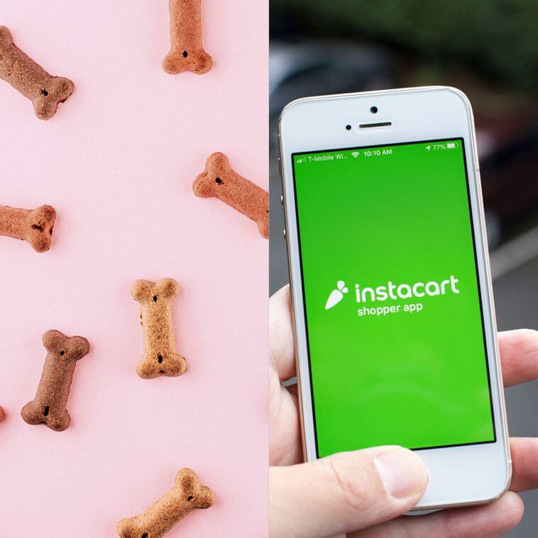 CPG News: Dual image of pet treats and the Instacart app [Unioncrate]